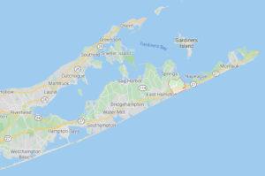 map showing location of Amagansett, NY