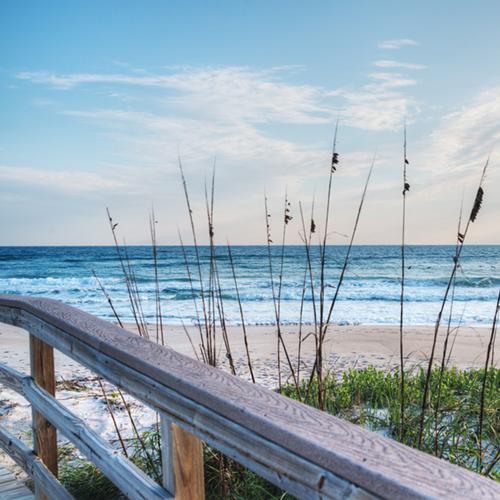 Montauk beach boardwalk