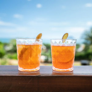 two old fashioned cocktails