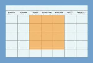 Calendar with Tuesday through Friday highlighted