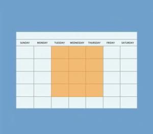 Calendar highlighting Tuesday through Thursday