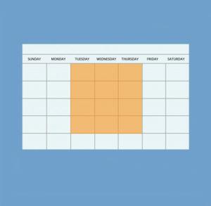 weekday claendar with tuesday throughfriday highlighterd