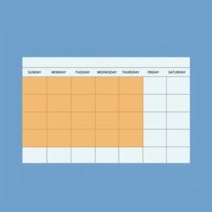 Calendar with Sunday through Thursday highlighted.
